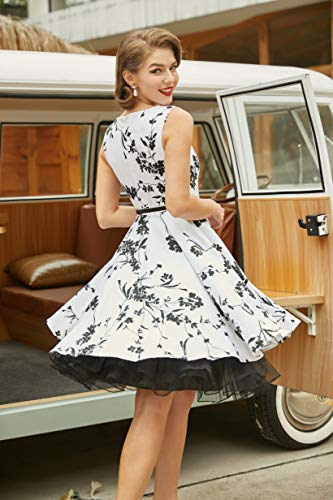 Floral Vintage Evening Dress for Women Sleeveless Size XL F-11