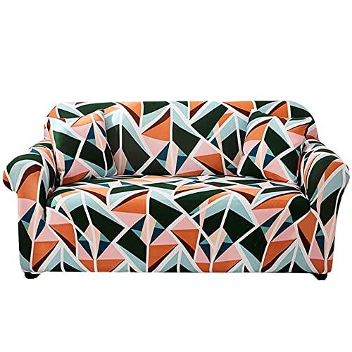 Funda de sofá elástica con estampado, fundas de sofá de 1 pieza para sofá de 3 cojines, protector de muebles para sala de estar con 1 fundas de almohada,Small