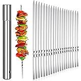 HIEIE 20 Stück Grillspieße Schaschlikspieße Edelstahl 35cm | Fleischspieße für BBQ & Grill | Kebab Spieße Schaschlikspieße Fleischspieße für Lagerfeuer oder Grillschale