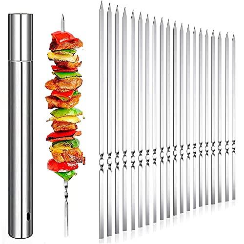 HIEIE 20 Stück Grillspieße Schaschlikspieße Edelstahl 35cm   Fleischspieße für BBQ & Grill   Kebab Spieße Schaschlikspieße Fleischspieße für Lagerfeuer oder...