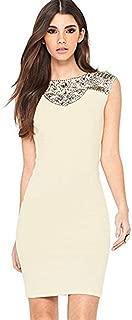 Women's Ivory Cream Floral Lace Panel Sleeveless Bodycon Dress