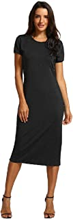 Wintialy Women Solid Short Length O-Neck Mid-Calf Straight Dress Princess Dress