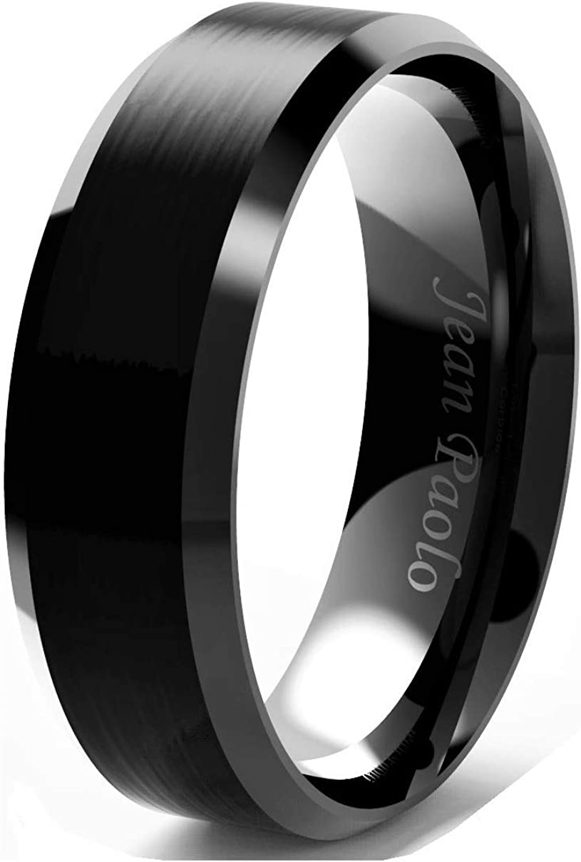 Jean Paolo Mens Wedding Bands Rings Black 8mm Tungsten Carbide Comfort Fit Brushed Centre Polished Bevelled Edges