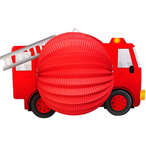 alles-meine.de GmbH 3 Stück _ 3-D Effekt _ Papier Laterne / Lampion -  Feuerwehr Auto - Fahrzeug  - für Kinder - Papierlaterne - Lampe - Laternen Lampions - Figur - für Laterne..