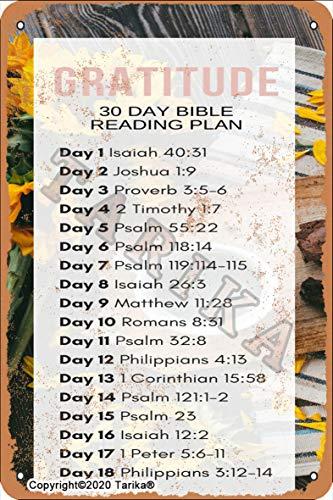 Gratitude 30 días Plan de lectura de la Biblia 20 x 30 cm, aspecto vintage, placa decorativa de metal, para el hogar, cocina, baño, granja, jardín, garaje, citas inspiradoras para decoración de pared