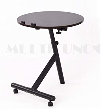 LPKH Laptop Bed TableRound Modern Corner Folding Tablesmall Coffee Tablesmall Table (Color : Black)