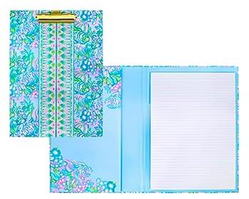 Lilly Pulitzer Blue Clipboard Folio with 60 Page Lined Notepad and Interior Storage Pocket Aqua La Vista