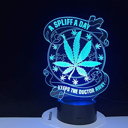 Houd de dokter uit de buurt van de gezondheid 3D-ledverlichting nachtlampje led-nachtlampje visueel lichteffect schattig geschenk 3224