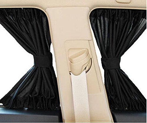 Feiteplus 2 x Car Side Window Curtain Sun Shade Vehicle Slidable Window Shield UV Protection (Pack of 2, S)