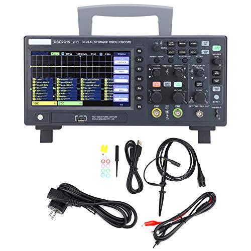 Oscilloscopio a memoria digitale, kit oscilloscopio a memoria a 2 canali portatile con larghezza di banda 150MHZ, 1GSa / s per manutenzione elettronica, ingegneria elettronica(EU)