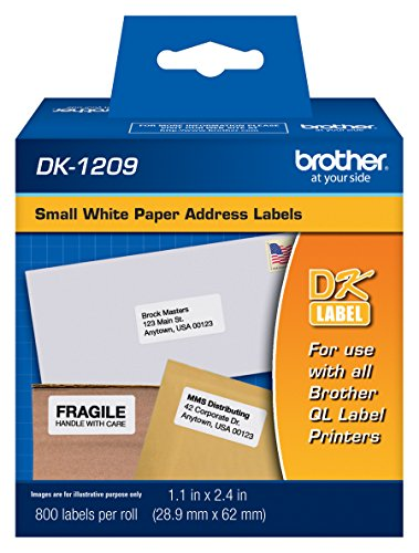 "Brother DK-1209 Small Address Labels, White, 2 1/2"" x 1 1/2"", Roll Of 800"