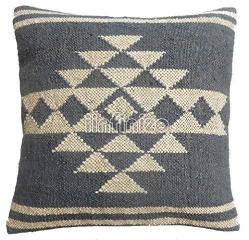iinfinize Indischer Kelim-Kissenbezug, Jute-Kissenbezüge, Kelim-Kissenbezug, 45 x 45 cm, handgewebtes Kelim-Teppich-Kissen, 4 Stück