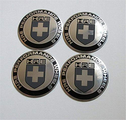 4Pcs Silver 65mm HRE Performance Aluminum Auto Wheel Center Hub Cap Emblems Stickers