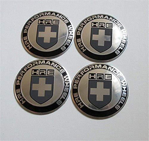 4Pcs Silver 65mm HRE Performance Aluminum Auto Wheel Center Hub Cap Emblems Stickers