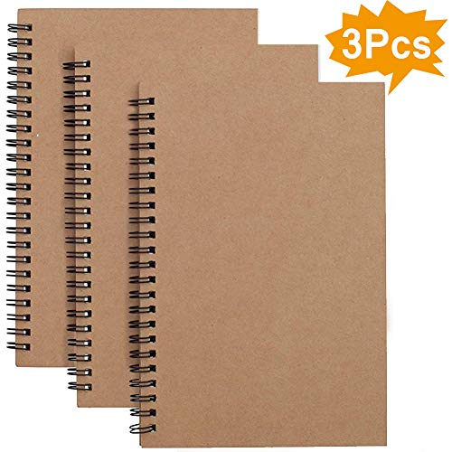 Spiral-Notizbuch, A5, liniert, 3er-Pack, weicher Einband, Kraftpapier, 100 Seiten / 50 Blatt, Notizblöcke, Planer, ideal für Reisen und Schule 3 Pack Brown