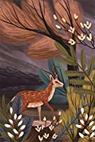 2000個の木製大人のパズル、減圧レ組み立てゲーム、最高のホリデーギフト- 鹿の油絵(75*105cm)