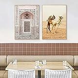 Cartel de paisaje de puerta de Marruecos islámico, desierto nórdico, camello, paisaje natural, arte de pared, pintura en lienzo para decoración de sala de estar, 50x70cmx2 sin marco