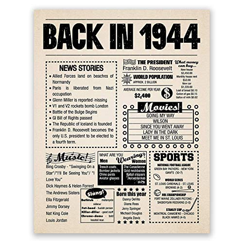 8x10 1944 Birthday Gift // Back in 1944 Newspaper Poster // 77th Birthday Gift // 77th Party Decoration // 77th Birthday Sign // Born in 1944 Print (8x10, Newspaper, 1944)