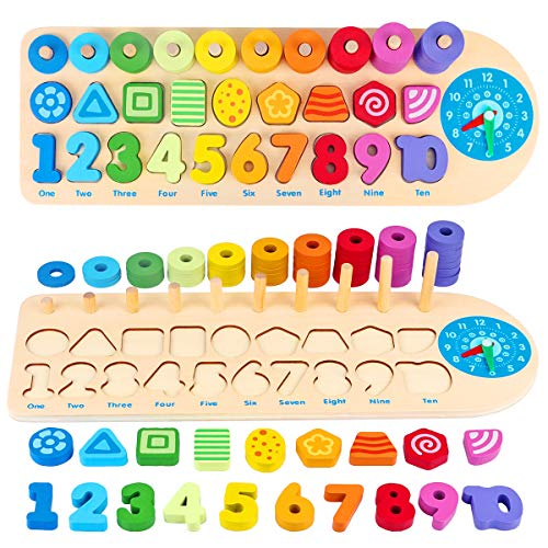 Aitbay Wooden Number Puzzles Montessori Toys for Toddlers, Shape Sorting Math Counting Color Wood Stacking Blocks, Educational Preschool Homeshchool Learning Toys for 2 3 4 5 Years Old Boys Girls