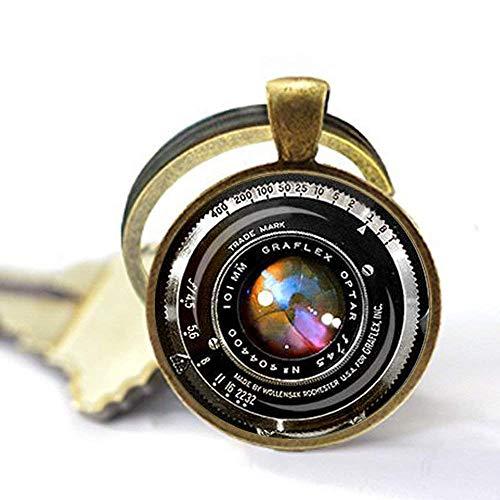 Llavero con lente de cámara antigua, llavero con lente de cámara para fotógrafos Graflex