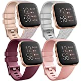 Yisica 4 Pack Bracelets Compatible avec Fitbit Versa 2 / Fitbit Versa/Versa Lite pour Femmes Hommes, Classique Silicone Souple Bracelet de Remplacement pour Fitbit Versa 2 / Versa, S/L (L, Pack-B)