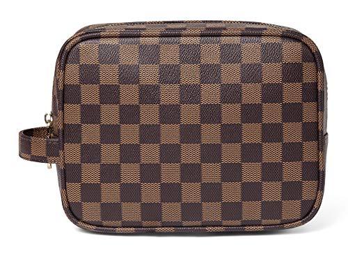 Daisy Rose Luxus Checkered Make Up Bag | Pu Vegan Leder Cosmetic Toiletry Reisetasche Klein Braun