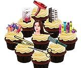 Made4You Decoraciones comestibles para Tartas de peluquería, oblea de pie para Cupcakes, Impreso Comestible, Pack of 36