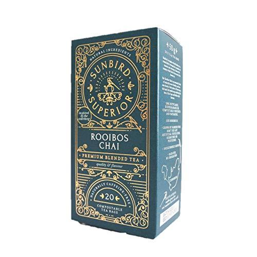 Sunbird Rooibos Chai Rooibos | Tè Rosso con Chai | 20 Bustine compostabili | Rare Premium Rooibos | 100% Eco-Responsabile |