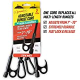SPIDER Heavy-Duty Bungee Cords with Hook and Carabiner, Adjustable & Locking Length, Tie-Down, Streches 7' to 70' 2-Pack