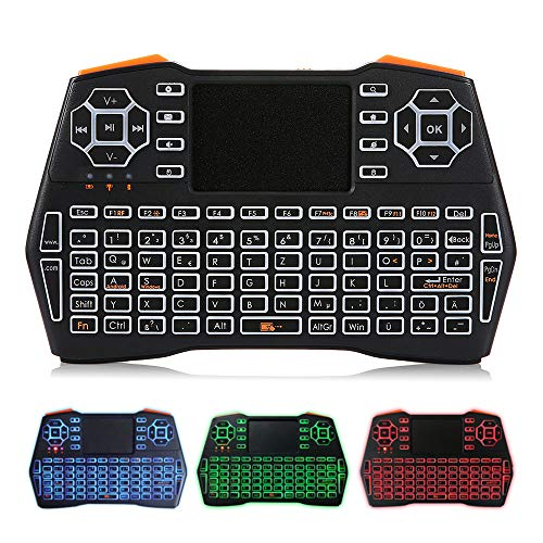 Fesjoy 2.4G Mini Wireless Keyboard Air Mouse Teclado Tricolor retroiluminado y Touchpad Compatible con Laptop Tablet Alemán