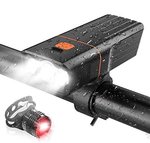 自転車 ライト 5200mAh 大容量 1000ルーメン 高輝度 USB充電式 LED自転車ヘッドライト IPX5防水 防振 3つ調光モード 自転車用ヘッドライト ロードバイク クロスバイク ライト モバイルバッテリー機能付き テールライト付き サイクルラ