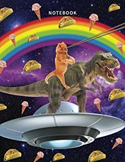 Notebook: Space Cat Notebook with 120 Pages of Lined Paper for Writing (Funny Composition Book Journal Diary) (8.5 x 11 Large) - Rainbow Eye Cat Riding A T-Rex With Tacos