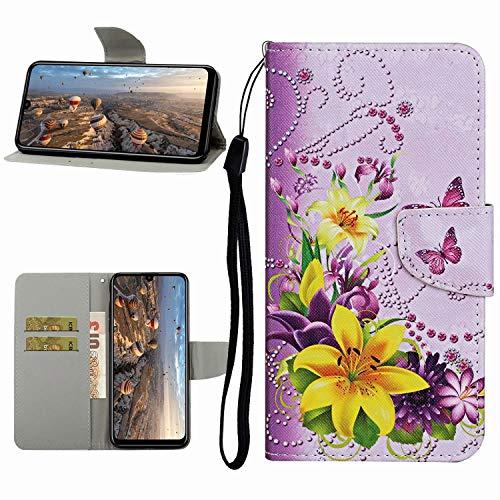 Miagon Hülle für Xiaomi Redmi Note 9S,Handyhülle PU Leder Brieftasche Schutz Flip Case Wallet Cover Klapphüllen Tasche Etui mit Kartenfächern Stand,Gelb Blume