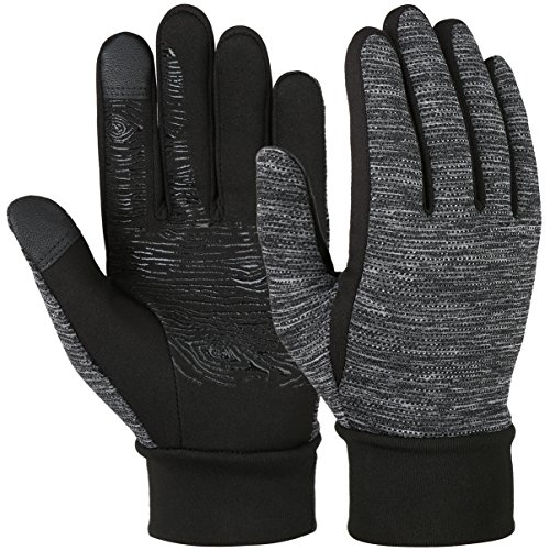 VBG VBIGER Winter Gloves Touch Screen Driving Gloves Anti-slip Cycling Gloves Warm Fleece Gloves for Men Women (Medium, Black/Grey)