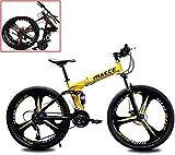 WLGQ Bicicleta de montaña para Adultos, Plegable, de 26 Pulgadas, con Doble absorción de Impactos, para Carreras de Velocidad, para niños y niñas, para Hombre, Mujer, Ciudad, Ejercicio aeróbico,