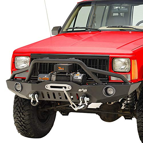 KML Front Bumper with LED Lights and Winch Plate Fit 1984-2001 Cherokee XJ / 1984-2001 Comanche MJ.