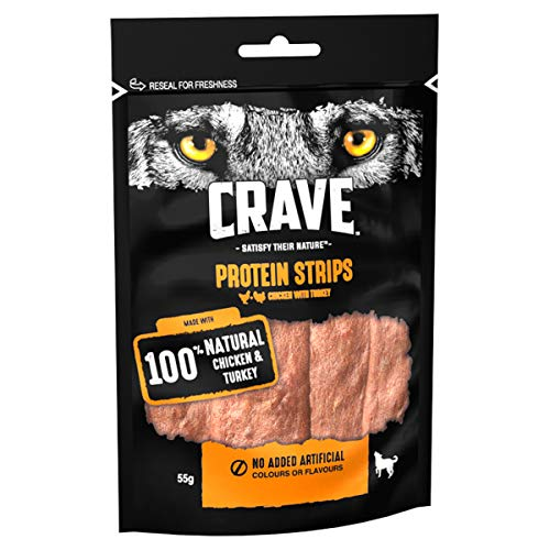 Crave Protein Strips - Dog Treats with Turkey and Chicken, 7x55g