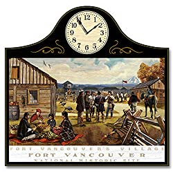 Northwest Art Mall Fort Vancouver Village, Fort Vancouver National Park Wood Wall Clock for Home & Office from Original Travel Artwork by Artist Paul A. Lanquist 12 x 18 with 5 Clock Face.