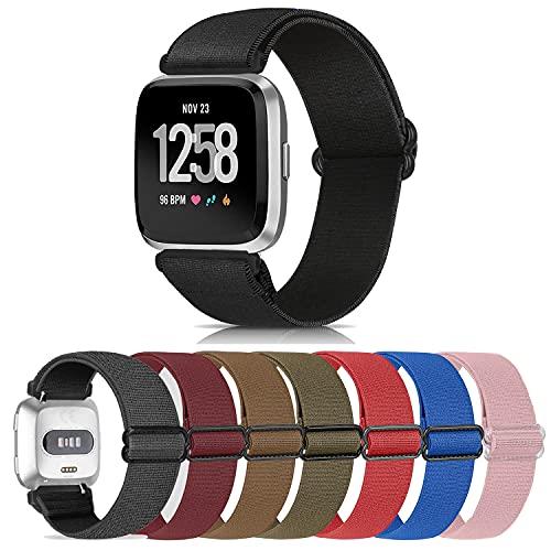 Correa elástica compatible con Fitbit Versa pulsera/Fitbit Versa 2, correa ajustable de nailon extensible, correa de repuesto para Fitbit Versa/Versa 2/Versa Lite,