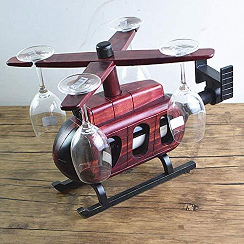 ZHIRCEKE Copa de Vino de helicóptero de Caoba y Soporte de Botella, Pistola de avión Decantador de Whisky, Puede Contener 4 Copas y 1 Botellas de Vino Tinto, Excelentes Regalos para Anyon