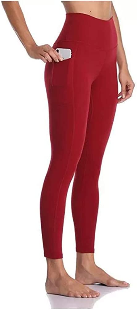 Womens High Waist Yoga Pants with Pockets Workout Leggings Tummy Control Squat Proof Tights