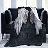 Flannel Fleece Blanket Full Size Angels Wings Oil Painting Blanket,All-Season Plush Blanket for Couch Bed Travelling Camping Or Kids Adults 50'X40'