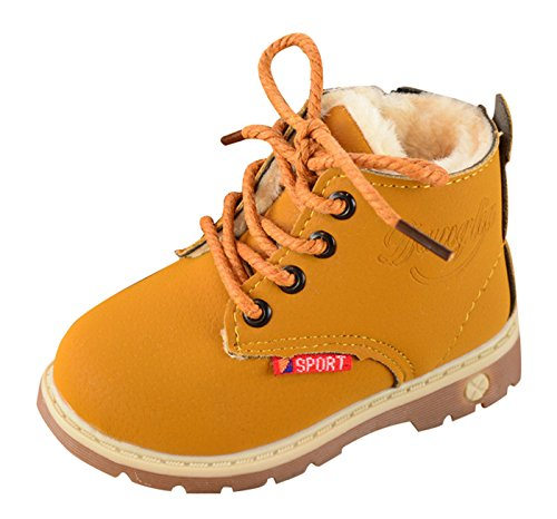 Unisex Baby Martin Boots Retro Winter Lace Up Boots Martin Ankle Boot Work Hiking Trail Biker Shoes Yellow Size 23