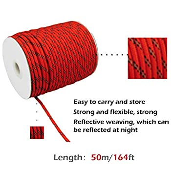 TRIWONDER Rouleau de Corde en Nylon 50 m Corde Réfléchissante Diamètre 4mm Corde de Tente Solide pour Camping Emballage Randonnée Escalade (Orange - 50 m)