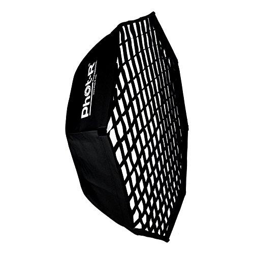 Phot-R 95cm Octagonal Schirmstreifen Softbox + Wabenraster Bowens S-Typ Halterung Speedring + Innen- und Außendiffusor 37' zusammenklappbar tragbar + Koffer für Fotostudio Dauerlicht LED-Blitzlicht