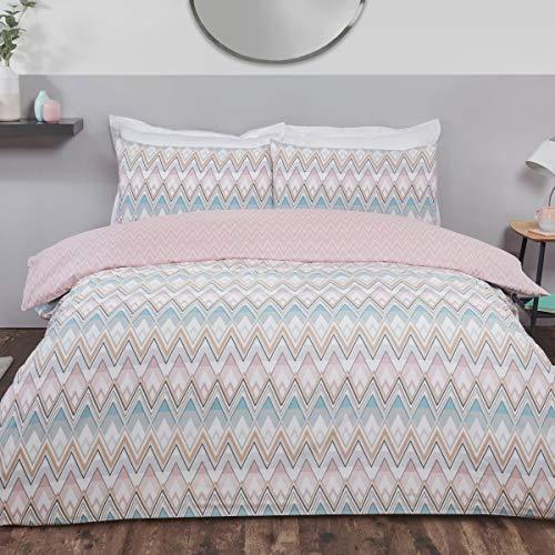 Sleepdown Zig Zag - Juego de Funda de edredón y Funda de Almohada para Cama Individual (135 x 200 cm), diseño geométrico de Color Rosa