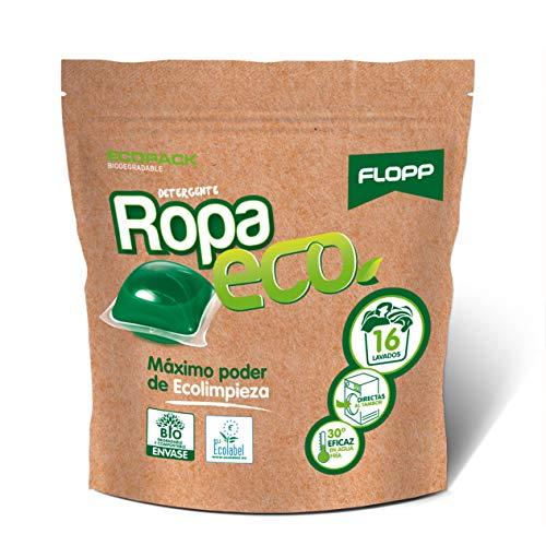 Flopp - Detergente Ecológico en Cápsulas para la Ropa, 16 Cápsulas | Detergente Eco para Lavadoras Ropa Blanca y Color. | Detergente Eco Limpia sin Ensuciar el Planeta.