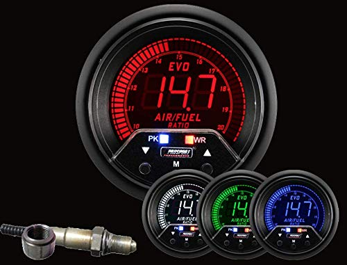 Prosport Universal 52mm Premium Evo Electrical Wideband A/F Air Fuel Ratio Gauge Red/White/Blue/Green