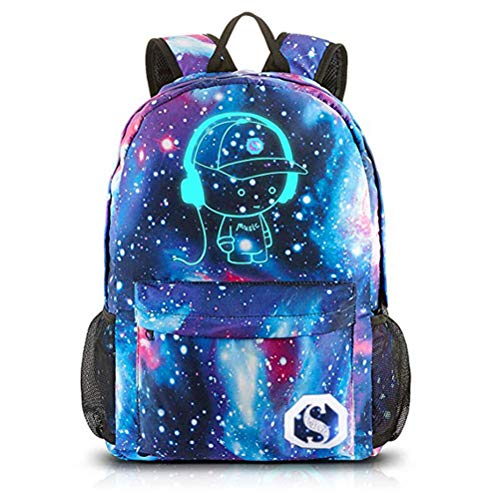 Galaxy School Backpack Bag for Boys, Cool Luminous Kids Bookbag Rucks