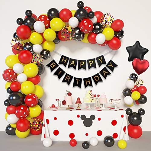 Amandir Cartoon Mouse Birthday Balloons Arch Garland Kit, Foil Confetti Black Red Yellow Latex Balloons with Happy Birthday Banner for Mickay Theme Birthday Party Supplies Decorations
